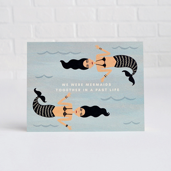 Girl w/ Knife Mermaids Greeting Card