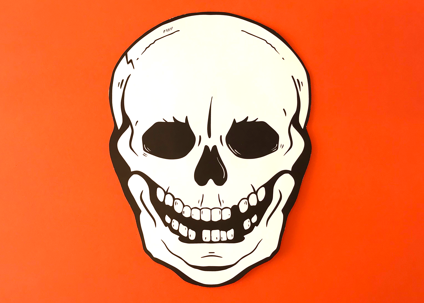 Skull template orange background