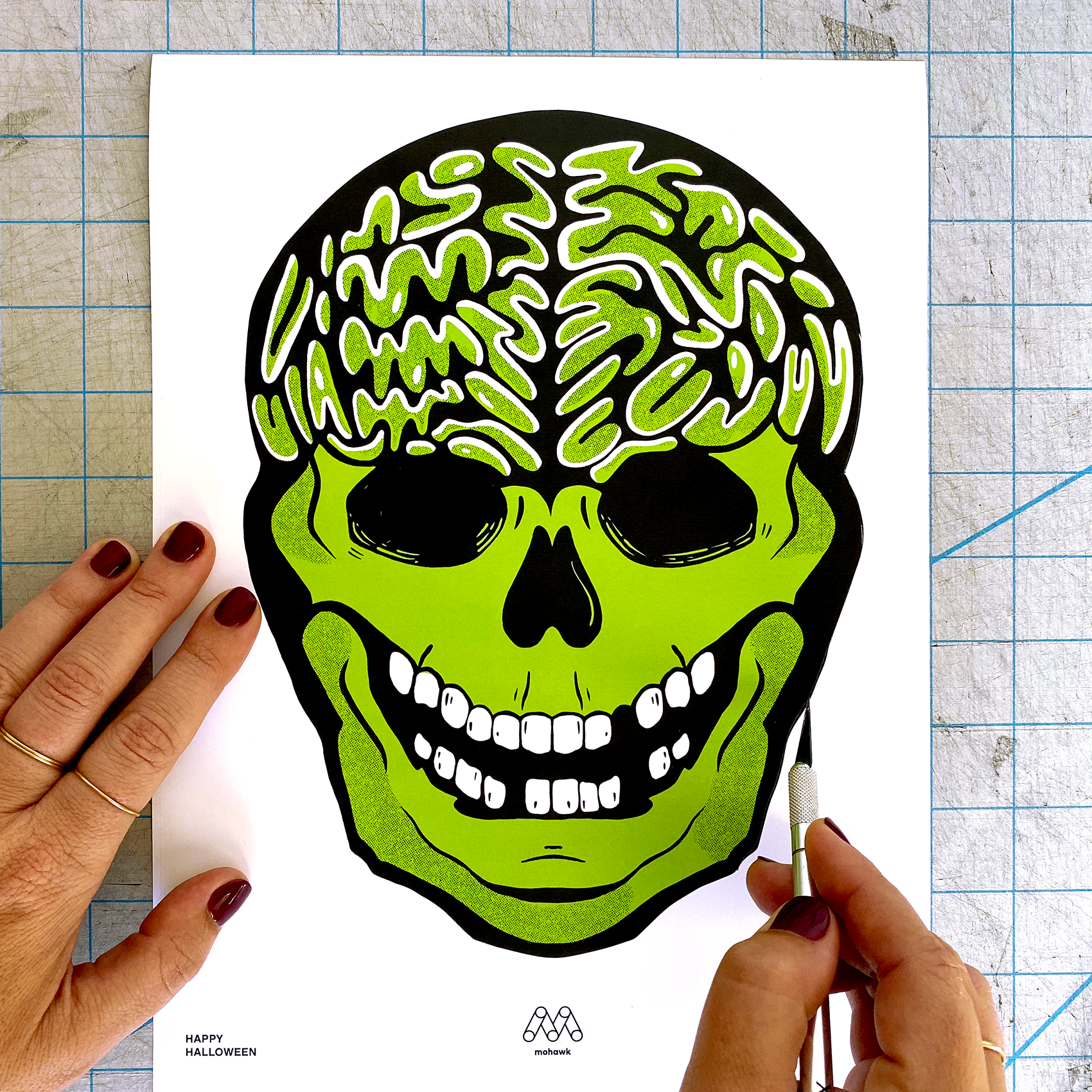 Skull template being cut