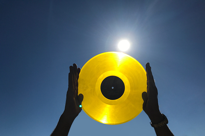 Voyager golden record in the sun