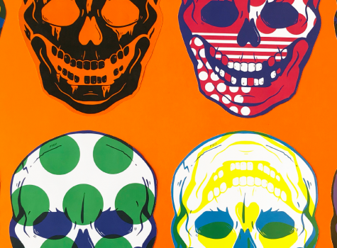 Colorful skulls on an orange background