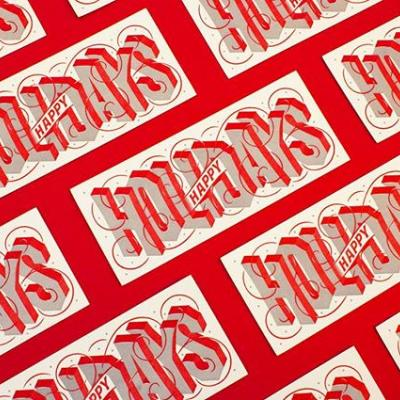 GIVEAWAY: Our Holiday card this year features a custom letterpress design by @nickmisani along with some delicious red edge painting (Check out our Story to get a behind-the-scenes look as to how it was made at @craneandco). . We can't get enough of it, so we're giving away three signed cards by Nick, himself! Comment below for your chance to win a card. You only have until tomorrow so...what are you waiting for?  #HappyHolidays #HolidayCard #Giveaway #Card #GreetingCard #Letterpress #EdgePainting #HandLettering #Paper