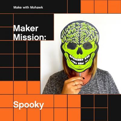 Boo! 👻 did we scare you? No? 😒 Well, you can try your hand at making something scary-good until the end of the month using our skeleton mask template 💀  Use promo code SPOOKY13 for a treat 🍬 ($13 off your order and free shipping) at the Mohawk Printshop - no trick 🎃 (link in bio)  Share your spooktacular designs with us using #makewithmohawk