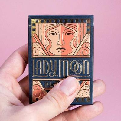 """We can't get over these tuck boxes for @artofplay's """"Lady Moon"""" designed by @charlesandthorn and printed by @mamassauce. 👀 . Foil stamped, embossed, die-cut AND screen printed on Mohawk Keaykolour Vellum Navy Blue 111 Cover. . 📸 : @mamassauce"""