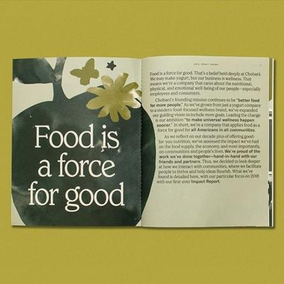 Food is a force for good—that's the belief that drove @chobani to create their first-ever impact report. . Their 2018 impact report focuses on the company's charitable operations in 2018 using photography, words, and infographics on Strathmore Wove Natural White 80 Text—a nod to the background color of their recognizable Greek yogurt packaging.